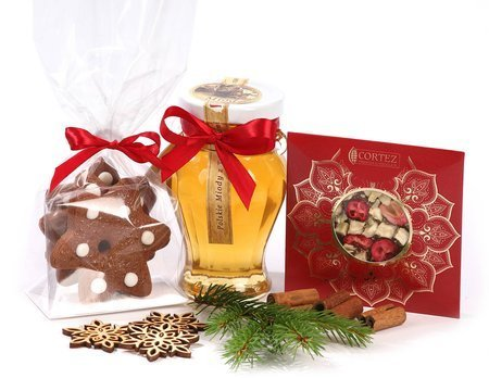 Zestaw prezentowy - Miodowy upominek z czekoladą i pierniczkami.